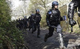 Des gendarmes mobiles sur la ZAD de Notre-Dame-des-Landes.