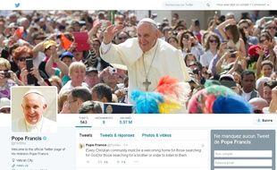 Capture d'écran du compte Twitter du pape François, le 28 avril 2015.