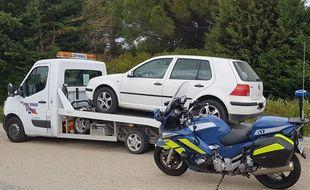 L'un des véhicules saisi ces derniers jours lors d'un grand excès de vitesse sur les routes du Gard.