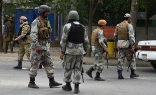 Des militaires afghans à Kaboul, le 8 mai 2019 lors d'une attaque de talibans (image d'illustration).