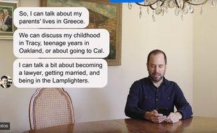 James Vlahos en train de chatter avec son Dadbot pour «The Wired».