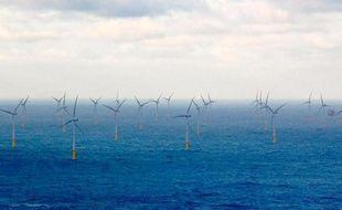 Un champ d'éoliennes en mer au large de la Belgique, en 2010