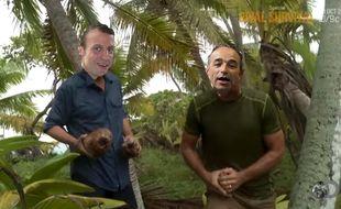 Photomontage grossier imaginant Emmanuel Macron et Jean-François Copé dans «Rival Survival».