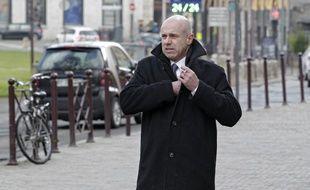 Lille, le 4 février 2015. Procs pour proxénétisme aggrave de l'affaire dite du Carlton de Lille devant le tribunal correctionnel. Ici David Roquet arrive au tribunal.
