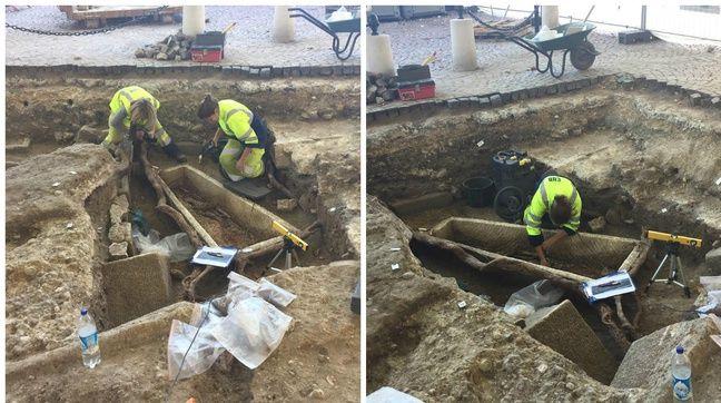 Les archéologues travaillent sur un sarcophage en particulier.