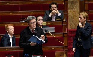 Adrien Quatennens, Jean-Luc Melenchon et Clementine Autain pendant les débats à l'Assemblée nationale sur le coronavirus le 22 février 2020.