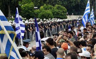 Manifestation à Athènes (Grèce) contre le plan de rigueur du gouvernement le 15 juin 2011.