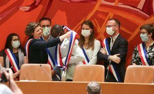 Lors de l'installation du nouveau conseil municipal. Strasbourg le 4 juillet 2020.