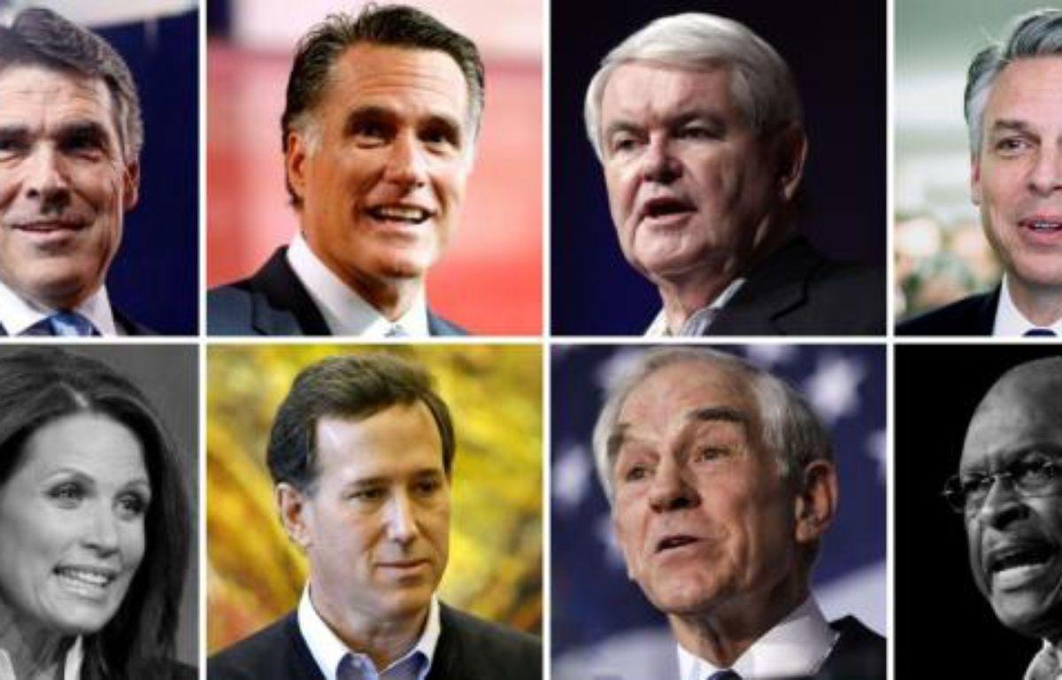 Les candidats à l'investiture républicaine, de gauche à droite et de haut en bas: Rick Perry, Mitt Romney, Newt Gingrich, Jon Huntsman. Michele Bachmann, Rick Santorum, Ron Paul et Herman Cain. Les candidats grisés ont abandonné. – PHOTOS AP/SIPA / PHOTOMONTAGE 20 MINUTES