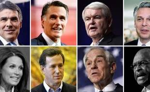 Les candidats à l'investiture républicaine, de gauche à droite et de haut en bas: Rick Perry, Mitt Romney, Newt Gingrich, Jon Huntsman. Michele Bachmann, Rick Santorum, Ron Paul et Herman Cain. Les candidats grisés ont abandonné.