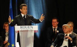 Nicolas Sarkozy avec Hervé Morin à Rouen le 30 novembre 2015.