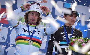 Peter Sagan a signé sa première victoire avec le maillot arc-en-ciel lors de Gand-Wevelgem, le 27 mars 2016.
