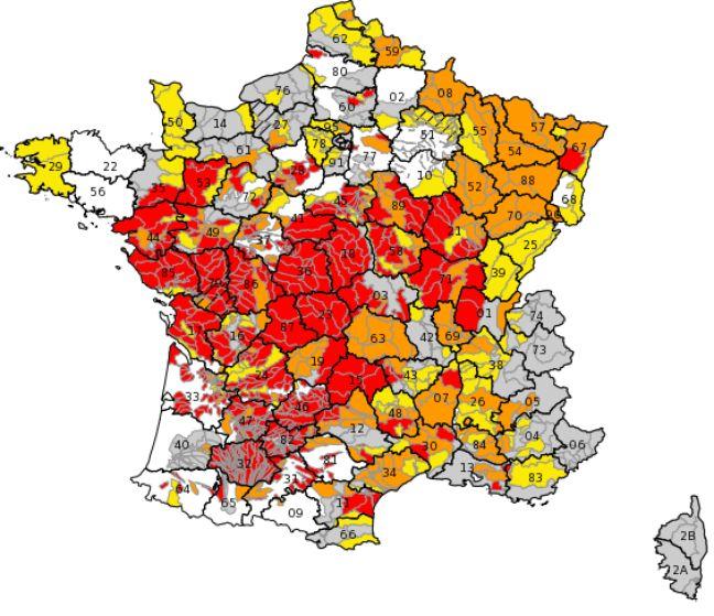 La carte de France des restrictions d'eau. En rouge, les secteurs en crise.