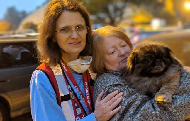 Elizabeth et son chien Bear, rescapés de l'incendie qui a ravagé Paradise, en Californie.