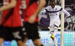 Ali Ahamada, le gardien du TFC, vient d'encaisser son cinquième but contre Rennes (0-5), le 26 octobre 2013 au Stadium de Toulouse.