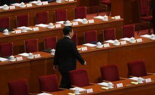 Le président chinois Xi Jinping à l'Assemblée nationale populaire (ANP), chambre d'enregistrement du régime chinois, 5 mars 2016 à Pékin