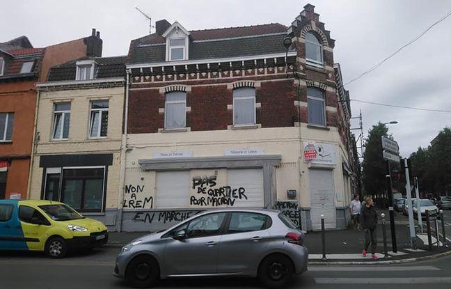 Municipales à Lille: Des slogans anti-Macron tagués sur la façade d'un café avant un débat avec une candidate LREM