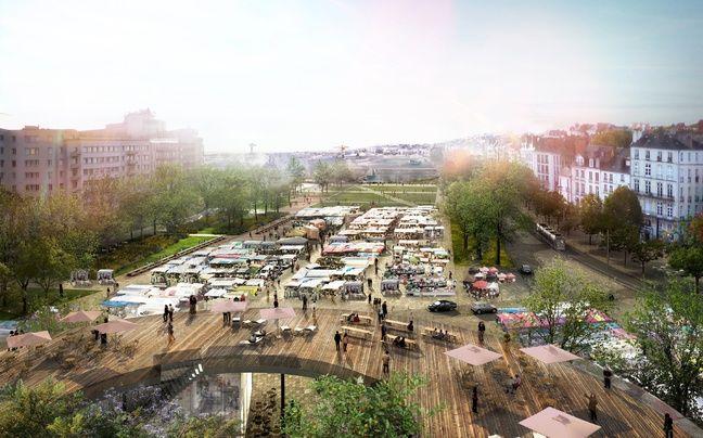 La future place de la Petite-Hollande un jour de marché et son bâtiment belvédère (dessin d'intention).