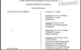 Première page de l'acte d'accusation à l'encontre de MegaUpload.