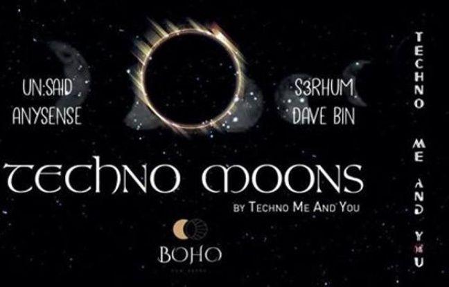 Visuel sombre pour la soirée techno en plein air du Boho