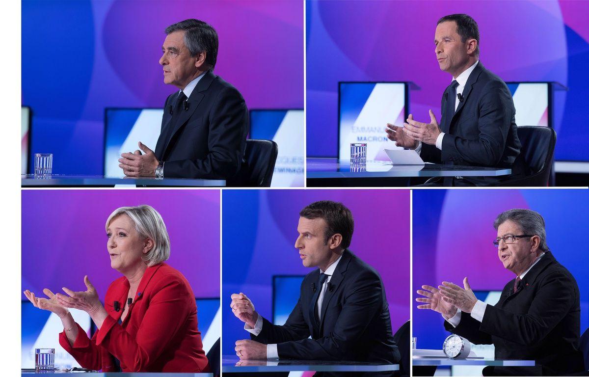 François Fillon, Benoît Hamon, Marine Le Pen, Emmanuel Macron et Jean-Luc Mélenchon sur le plateau de «15 minutes pour convaincre», le 20 avril 2017 sur France 2 – Montage 20 Minutes VILLARD/SIPA