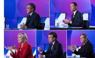 François Fillon, Benoît Hamon, Marine Le Pen, Emmanuel Macron et Jean-Luc Mélenchon sur le plateau de «15 minutes pour convaincre», le 20 avril 2017 sur France 2