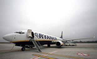 Illustration: Un avion Ryanair en janvier 2008 à Charleroi, en Belgique.