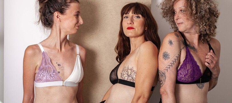 Photo de la collection de lingerie des Monocyclettes, modulable pour les femmes après une mastectomie.