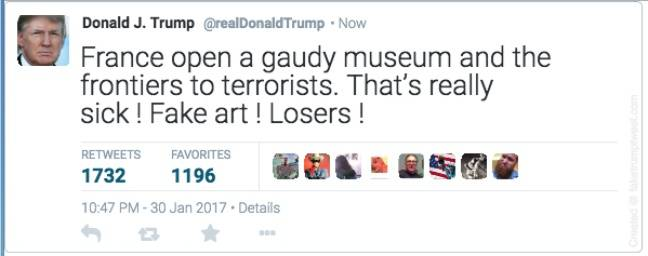 Donald Trump créé un incident diplomatique à cause du Centre Pompidou 2017