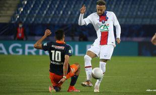 Neymar face à Montpellier en demi-finale de la Coupe de France, le 12 mai 2021.