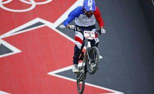 Joris Daudet lors des qualifications en BMX, le 8 août 2012 à Londres (Angleterre)
