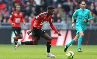 Le Rennais Ousmane Dembélé lors du derby SRFC-Guingamp, le dimanche 17 avril 2016.