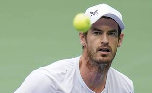Andy Murray lors de son match contre Yoshihito Nishioka au premier tour de l'US Open, le 1er septembre 2020.