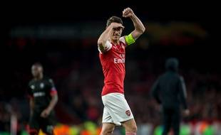 Laurent Koscielny, capitaine d'Arsenal, lors de la qualification contre Rennes en 8e de finale de Ligue Europa.