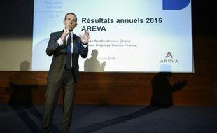 Le directeur général d'Areva, Philippe Knoche, devant la presse et les analyste, le 26 février 2016 à La Défense