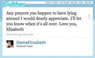 Capture d'écran du compte twitter d'Elizabeth Taylor, annonçant qu'elle entre à l'hôpital, le 6 octobre 2009.