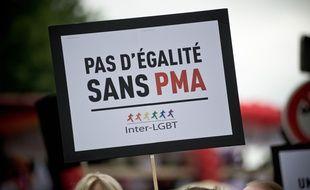 Une pancarte pro-PMA, lors de la Gay Pride, le 28 juin 2016.