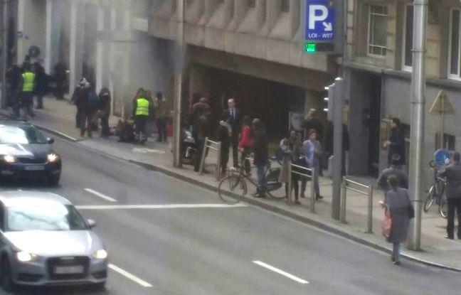 Une photo de la station de métro de Bruxelles où a eu lieu une autre explosion le 22 mars 2016 après celles de l'aéroport.