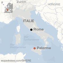 Carte de localisation de Palerme (Italie).