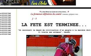 Capture d'écran du site de la Feria d'Arles piraté par des anti-corrida le 5 avril 2010.