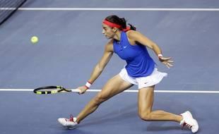 Caroline Garcia lors de la finale de la Fed Cup France-République Tchèque le 13 novembre 2016.