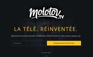 Détail de la page d'accueil du site Molotov.tv.