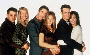 Jennifer Aniston, Courtney Cox, Lisa Cudrow, Matt Leblanc, Matthew Perry et David Schwimmer, principaux acteurs de la serie TV