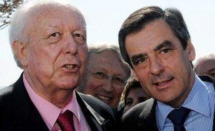 Jean-Claude Gaudin et François Filon à Marseille, le 27 mars 2009.