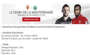 """Le site de l'ASMonaco présentant le match contre Saint-Etienne comme, """"le derby de la Méditerranée""""."""