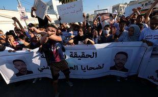 Manifestation à Sidi Hassine, en Tunisie, le 15 juin 2021 en réaction à la mort d'un jeune homme, Ahmed Ben Ammar, lors de son interpellation par des policiers.