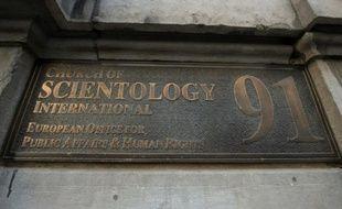 L'enseigne de l'Eglise de scientologie, le 8 décembre 2015 à Bruxelles