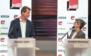 Sandrine Rousseau et Yannick Jadot lors du débat de la primaire écologiste