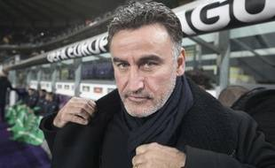 St. Etienne coach Christophe Galtier after the Europa League Group C soccer match between St. Etienne and Anderlecht at the Constant Vanden Stock stadium in Brussels on Thursday, Dec. 8, 2016. (AP Photo/Olivier Matthys)/BRU123/16343723640910/1612082153