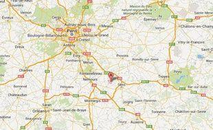 Google map de VIllethierry (Yonne)